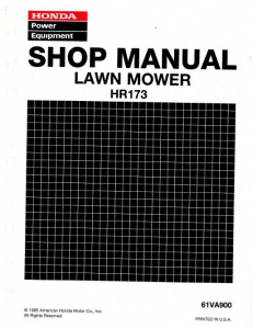 Official Honda HR173 Lawn Mower Shop Manual