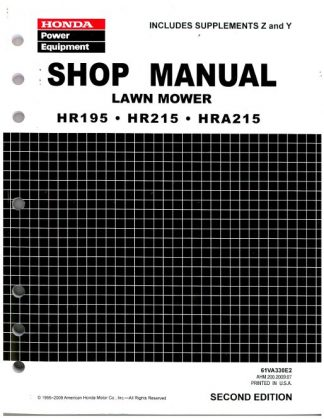 Official Honda HR195 HR215 And HRA215 Lawn Mower Shop Manual