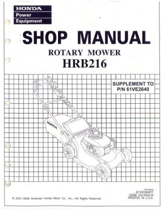Official Honda HRB216 Lawn Mower Shop Manual