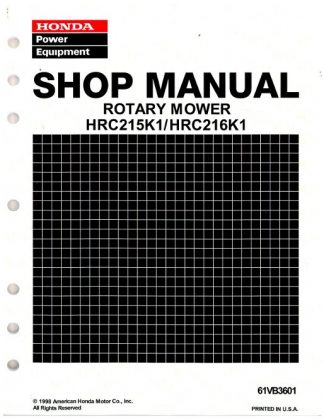 Official Honda HRC215K1 HRC216K1 Lawn Mower Shop Manual