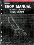 Official Honda HRM195PA Lawn Mower Shop Manual