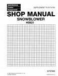 Official Honda HS621 Snowthrower Factory Shop Manual