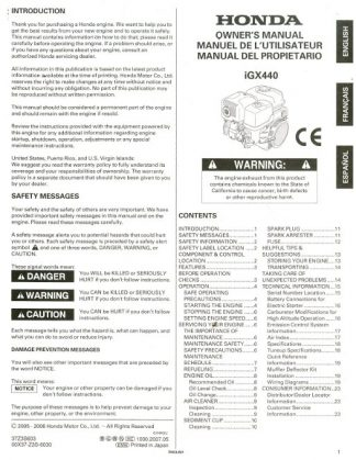 Official Honda iGX440 Engine Owners Manual