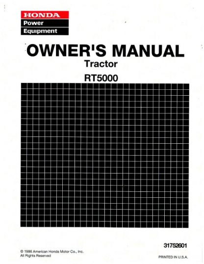 Official Honda RT5000 Tractor Owners Manual