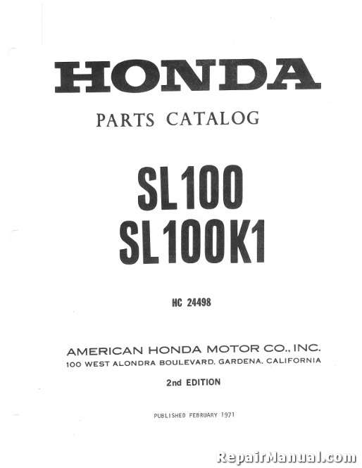 Enjoyable Honda Sl100 Sl100K1 Parts Manual Wiring Digital Resources Instshebarightsorg
