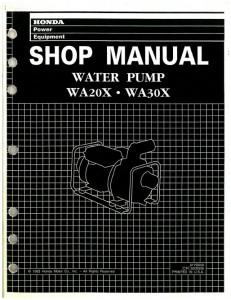 Official Honda WA20X And WA30X Water Pump Shop Manual