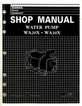 Official Honda WA20X And WA30X Water Pump Shop Manual