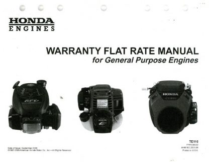 Official Honda Warranty Flat Rate Manual for General Purpose Engines