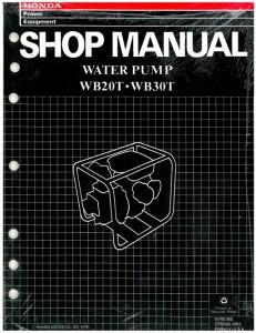 Official Honda WB20T And WB30T Water Pump Shop Manual