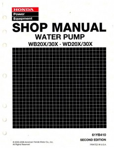 Official Honda WB20X 30X and WD20X 30X Water Pump Shop Manual