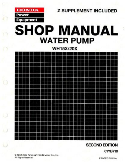 Official Honda WH15X WH20X Water Pump Shop Manual
