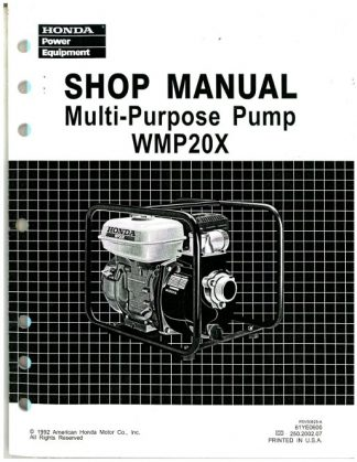 Official Honda WMP20X Water Pump Shop Manual