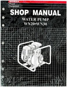 Official Honda WN20 30 Water Pump Shop Manual