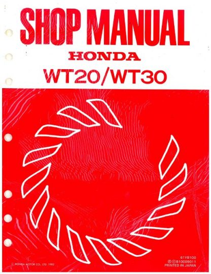 Official Honda WT20 And WT30 Water Pump Shop Manual