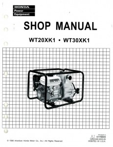 Official Honda WT20XK1 30XK1 Water Pump Shop Manual