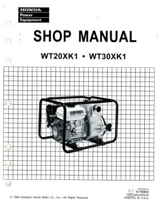 Official Honda WT20XK1 30XK1 Water Pump Shop Manual