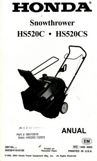 Official Honda X-Can HS520C 520CS Snowthrower Factory Owners Manual