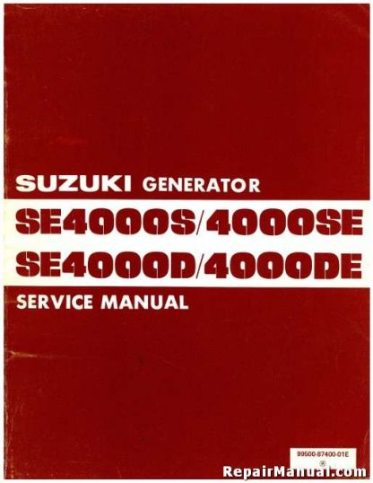 Official Suzuki SE4000S SE4000D Generator Service Manual