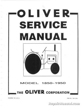 Oliver 1850 1950 Factory Service Manual