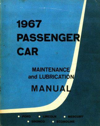 Passenger Car Maintenance and Lubrication Manual 1967 Used