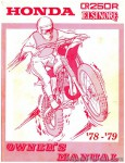 1978 - 1979 Honda CR250R Elsinore Motorcycle Factory Service Owners Manual
