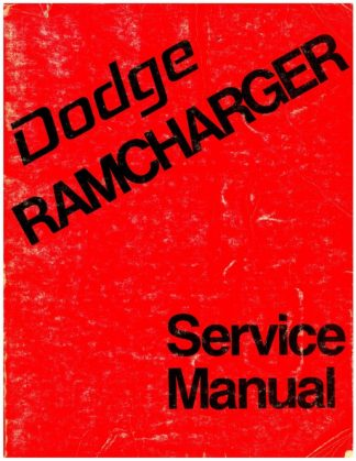 Dodge Ramcharger 1974 Factory Service Manual