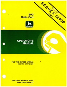 Used Official John Deere 500 Grain Cart Factory Operators Manual