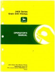 Used Official John Deere 9400 Series Grain Drill Hitches Factory Operators Manual